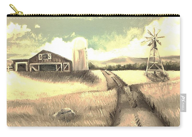 Farm Carry-all Pouch featuring the painting A Warm Welcome Antique by Shana Rowe Jackson