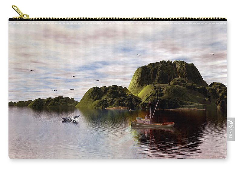 Carry-all Pouch featuring the digital art A Whales Tail Sighting by John Junek