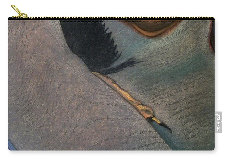 #book#reading#story#warped#abstract#twisted Carry-all Pouch featuring the drawing A Whole Other World by Kayla Kuhns
