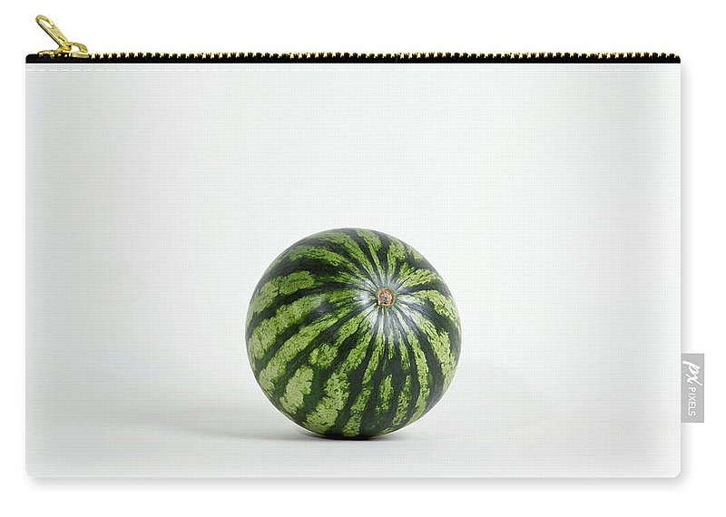Shadow Carry-all Pouch featuring the photograph A Whole Ripe Watermelon, Studio Shot by Halfdark