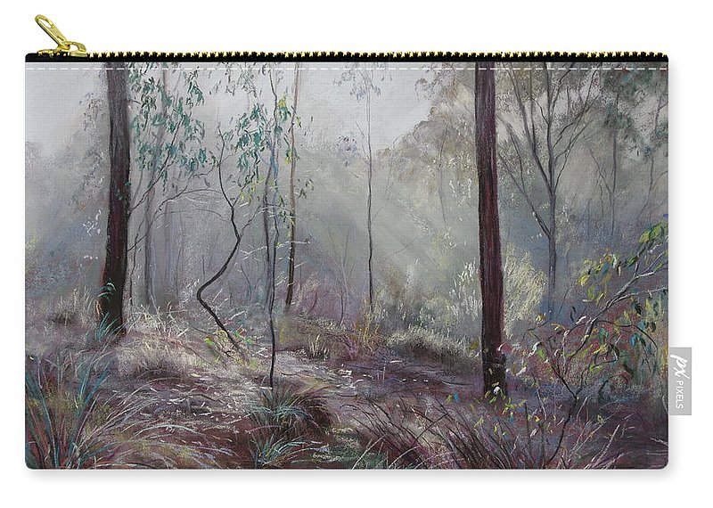 Lynda Robinson Carry-all Pouch featuring the painting A Wickham Misty Morning by Lynda Robinson