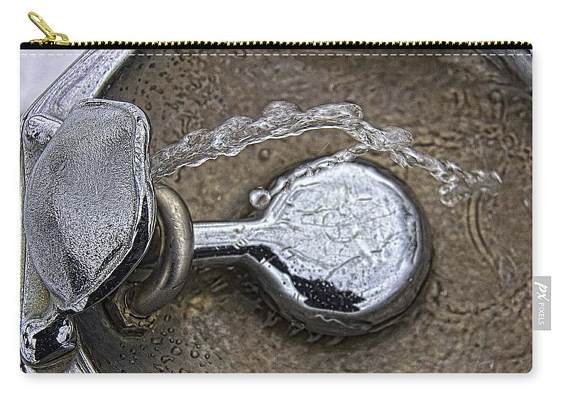 Bubbler Carry-all Pouch featuring the photograph A Winter Drink Of Water by Daniel Sheldon
