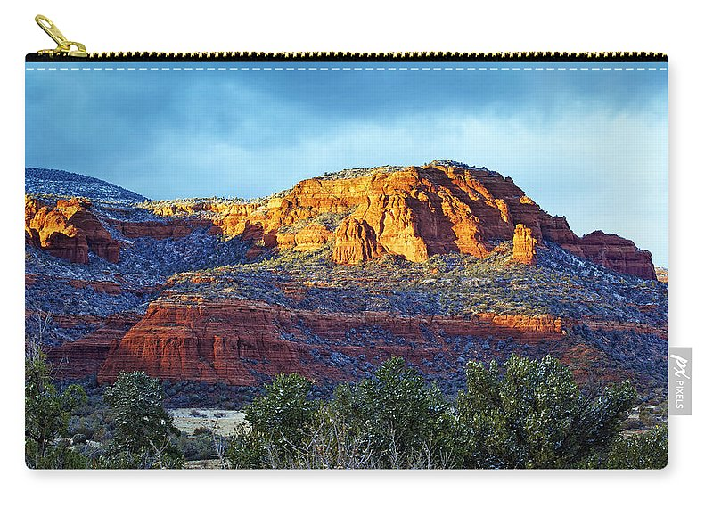 Arizona Carry-all Pouch featuring the photograph A Winter Dusting On Bear Mtn by Phill Doherty