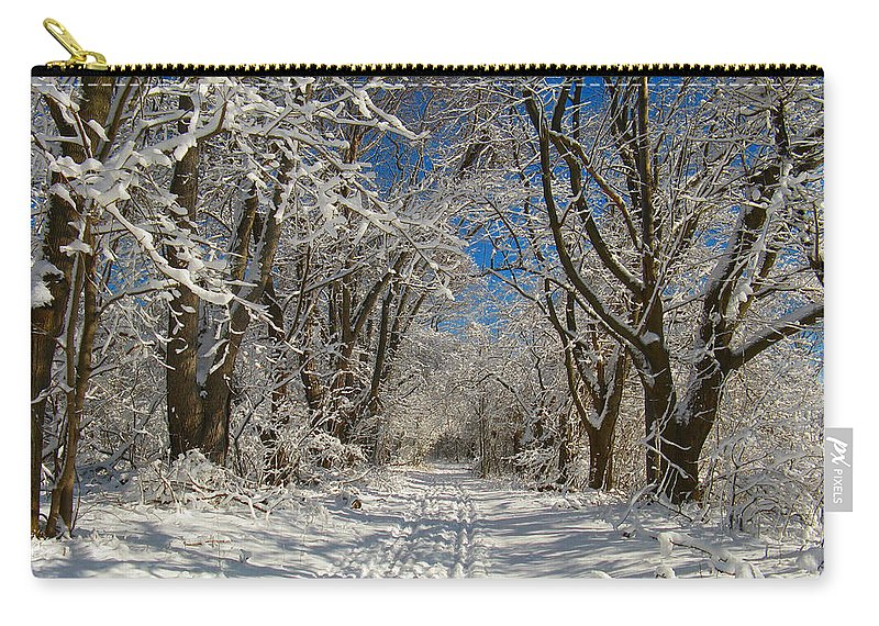 A Winter Road Carry-all Pouch featuring the photograph A Winter Road by Raymond Salani III