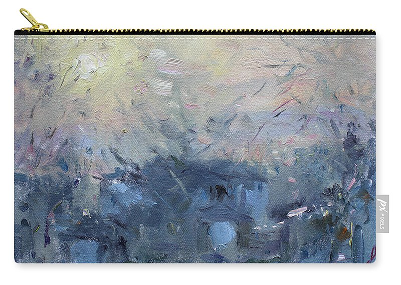 Winter Carry-all Pouch featuring the painting A Winter Sunrise by Ylli Haruni