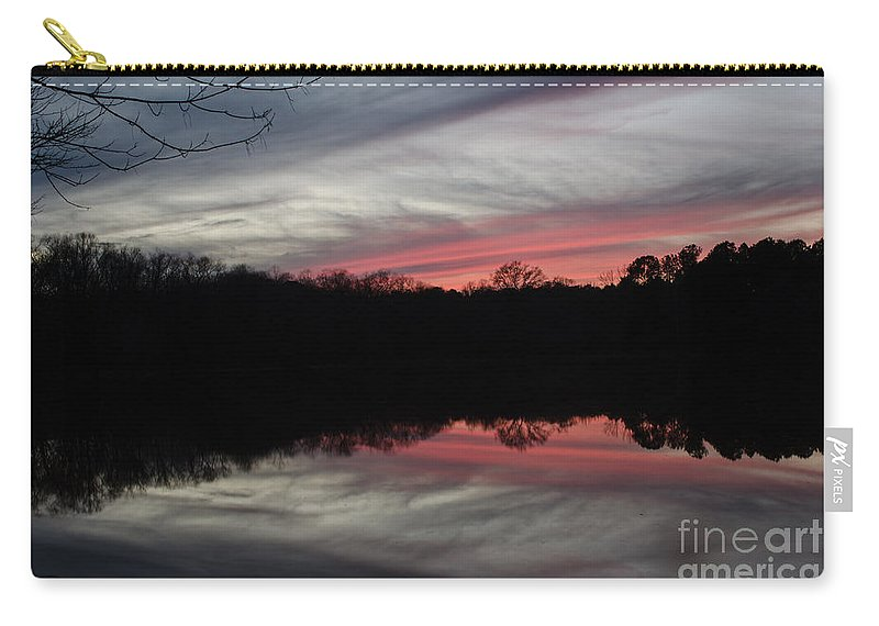 Sunset Carry-all Pouch featuring the photograph A Christmas Winter Sunset by Donna Brown