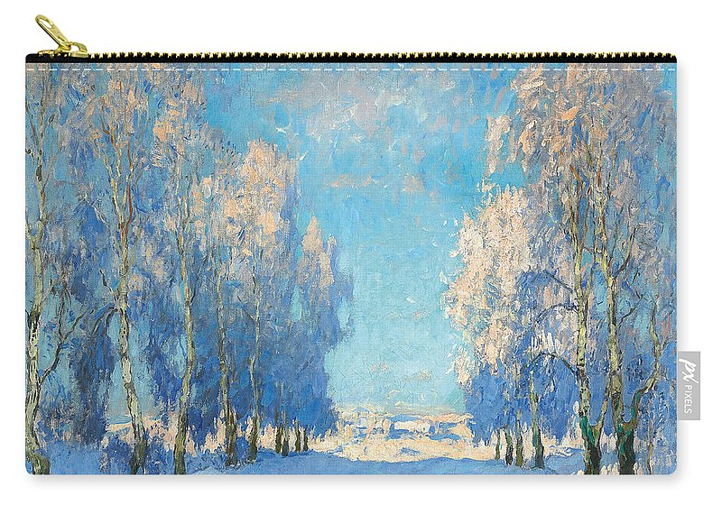 Winter Carry-all Pouch featuring the painting A Winter's Day by Konstantin Ivanovich Gorbatov
