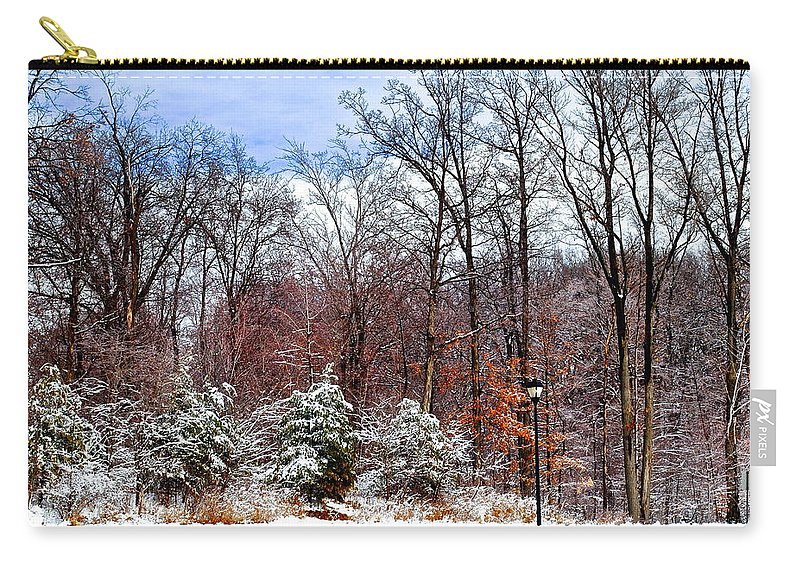3d Carry-all Pouch featuring the photograph A Winters Scene by Frozen in Time Fine Art Photography
