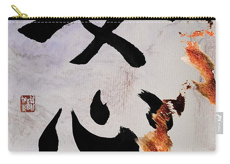 Zen Carry-all Pouch featuring the mixed media A Woman's Heart Flows As A Golden River by Peter v Quenter