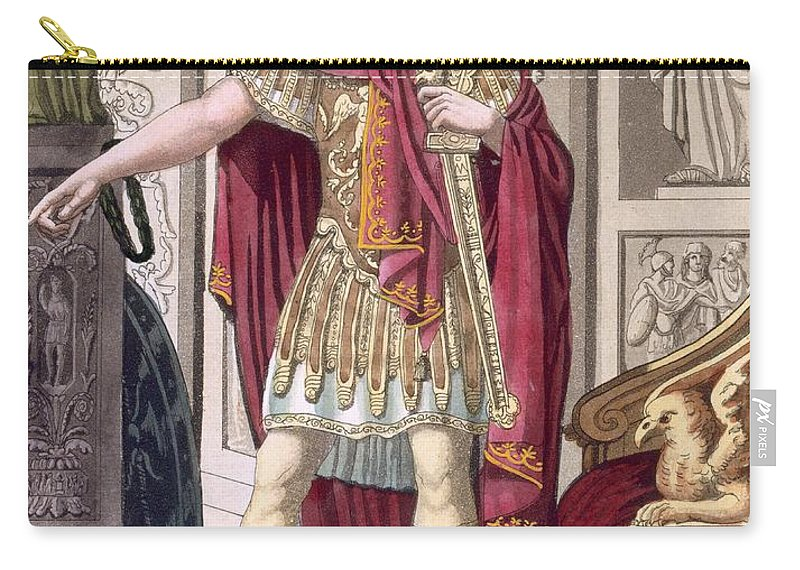 Male Carry-all Pouch featuring the drawing A Young Emperor In His Imperial Armour by Jacques Grasset de Saint-Sauveur