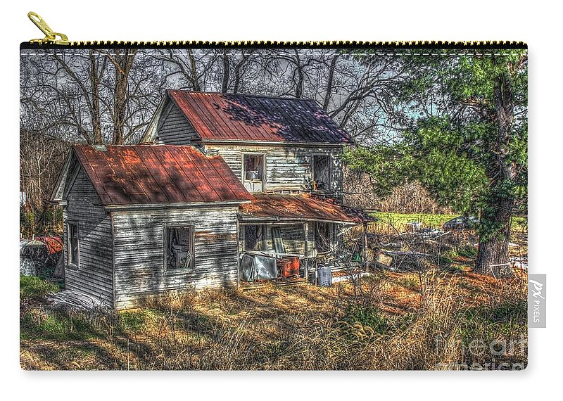 Evidence Carry-all Pouch featuring the digital art Abandoned Farmhouse by Dan Stone
