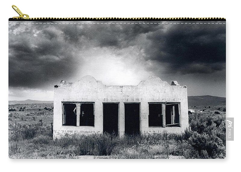 Photography Carry-all Pouch featuring the photograph Abandoned Gas Station In Nm by Timothy Bischoff
