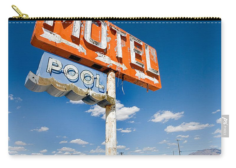 Arizona Carry-all Pouch featuring the photograph Abandoned Motel by Peter Tellone
