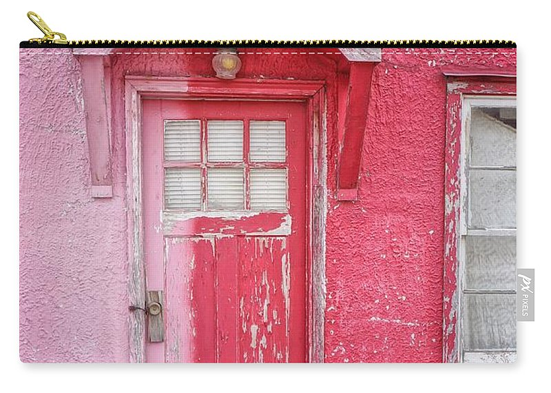Built Structure Carry-all Pouch featuring the photograph Abandoned Pink And Red House by Stan Strange / Eyeem
