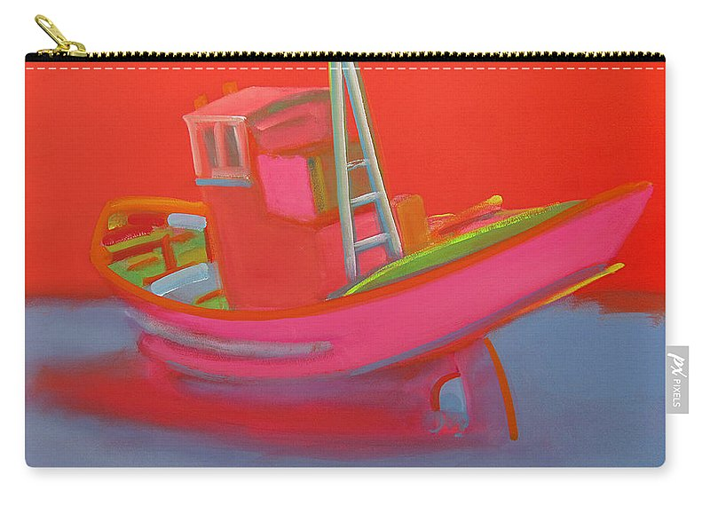 Fishing Carry-all Pouch featuring the painting Abandoned Red Fishing Trawler by Charles Stuart