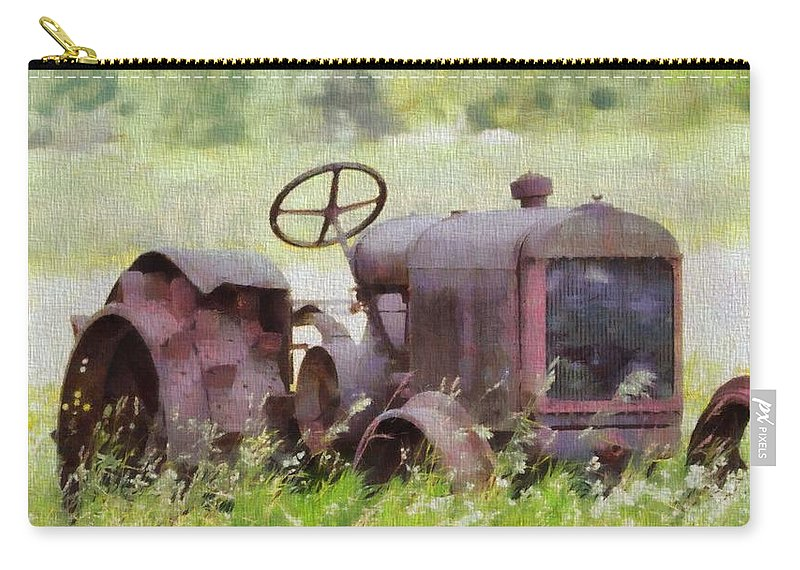 Abandoned Tractor On The Farm Carry-all Pouch featuring the painting Abandoned Tractor On The Farm by Dan Sproul