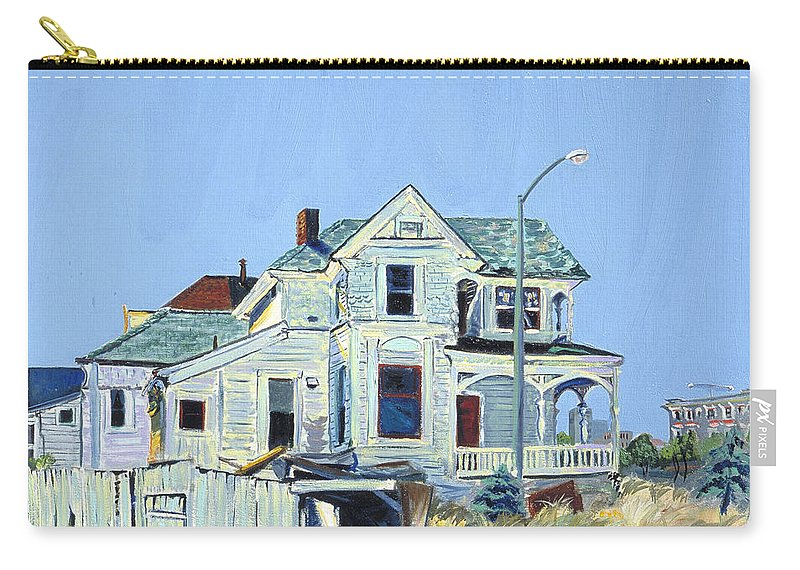 Urban Landscape Painting Carry-all Pouch featuring the painting Abandoned Victorian In Oakland by Asha Carolyn Young
