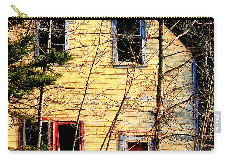Old Abandoned Farm House Carry-all Pouch featuring the photograph Abandoned Yellow House by Andrea Lawrence