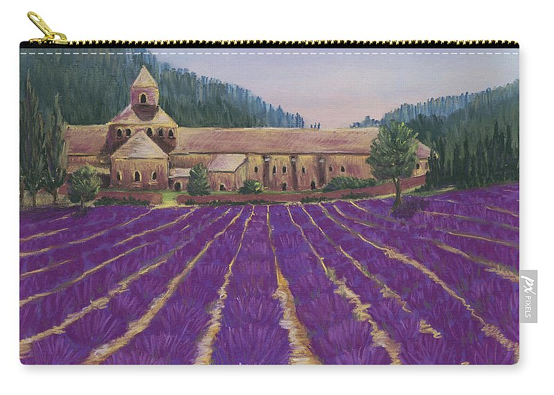 Malakhova Carry-all Pouch featuring the painting Abbaye Notre-dame De Senanque by Anastasiya Malakhova