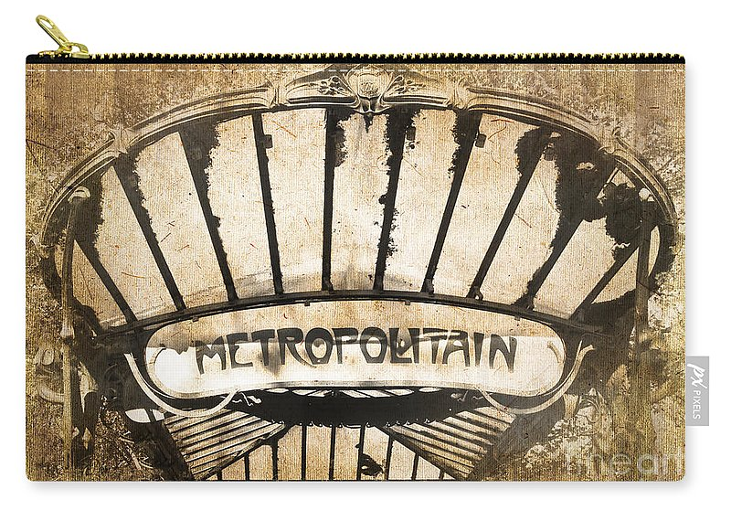 Paris Carry-all Pouch featuring the photograph Abbesses Metropolitain by Delphimages Photo Creations