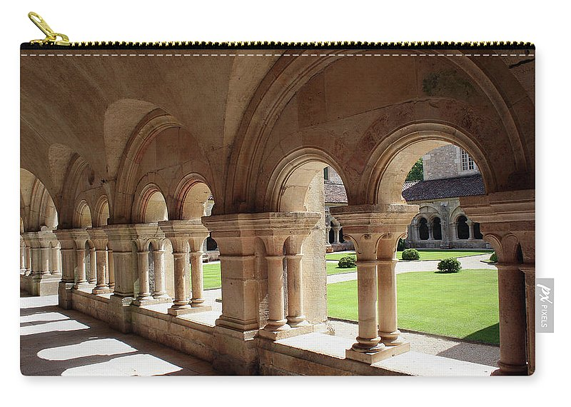 Cloister Vault Carry-all Pouch featuring the photograph Abbey Fontenay - Cloister Vault by Christiane Schulze Art And Photography