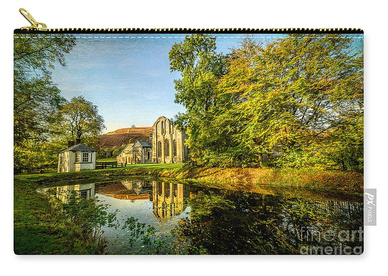 13th Century Carry-all Pouch featuring the photograph Abbey Lake Autumn by Adrian Evans