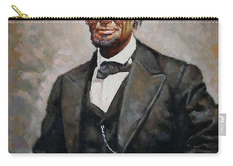 Abraham Lincoln Carry-all Pouch featuring the painting Abraham Lincoln by Ylli Haruni