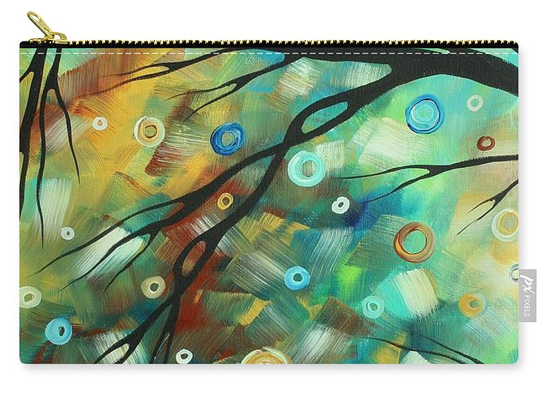 Art Carry-all Pouch featuring the painting Abstract Art Landscape Circles Painting A Secret Place 2 By Madart by Megan Duncanson