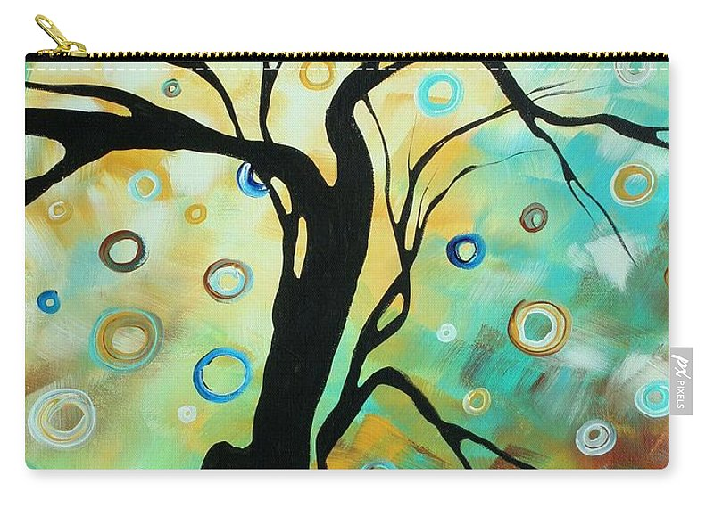 Art Carry-all Pouch featuring the painting Abstract Art Landscape Circles Painting A Secret Place 3 By Madart by Megan Duncanson