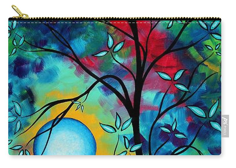Art Carry-all Pouch featuring the painting Abstract Art Landscape Tree Blossoms Sea Painting Under The Light Of The Moon I By Madart by Megan Duncanson