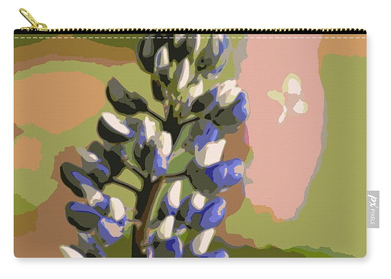 Blue Carry-all Pouch featuring the photograph Abstract Blue Lupine by Kenny Glotfelty