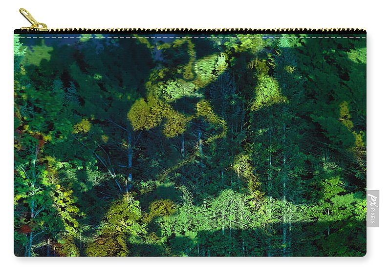 Abstract Carry-all Pouch featuring the photograph Abstract Colorful Light Projection On Trees by Oleksiy Maksymenko