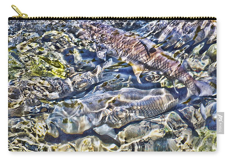 Abstract Carry-all Pouch featuring the digital art Abstract Fish 3 by Cathy Anderson