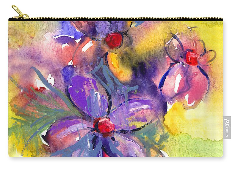 Abstract Watercolor Flowers Prints Carry-all Pouch featuring the painting abstract Flower botanical watercolor painting print by Svetlana Novikova