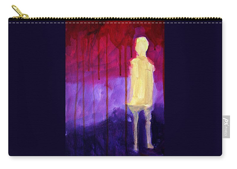 Abstract Carry-all Pouch featuring the painting Abstract Ghost Figure No. 3 by Nancy Merkle