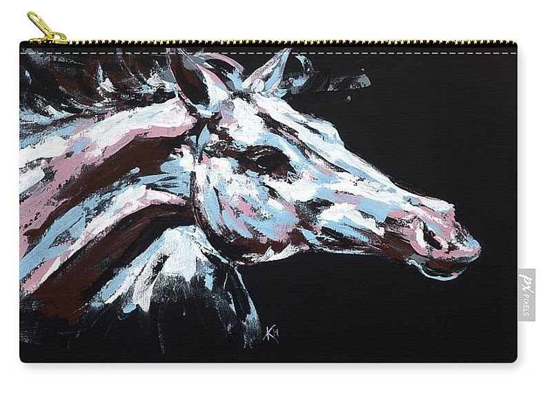 Abstract Horse Carry-all Pouch featuring the painting Abstract Horse by Konni Jensen