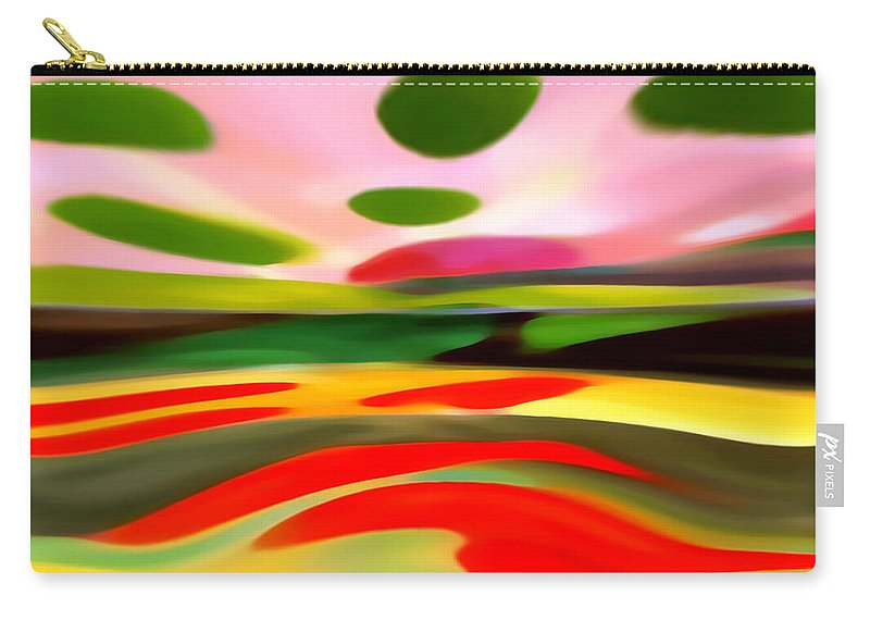 Abstract Carry-all Pouch featuring the painting Abstract Landscape Of Happiness by Amy Vangsgard
