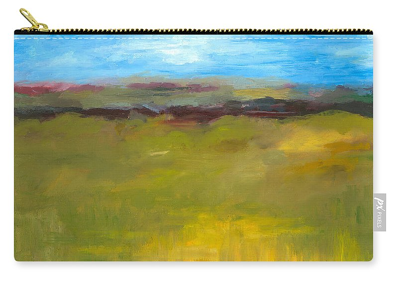 Abstract Expressionism Carry-all Pouch featuring the painting Abstract Landscape - The Highway Series by Michelle Calkins