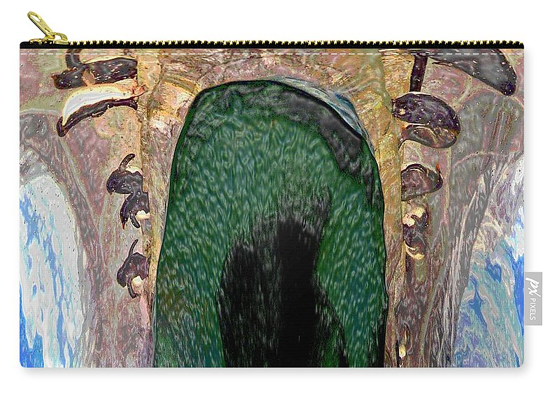 Computer Graphics Carry-all Pouch featuring the photograph Abstract Of Penguins On Ice by Marian Bell