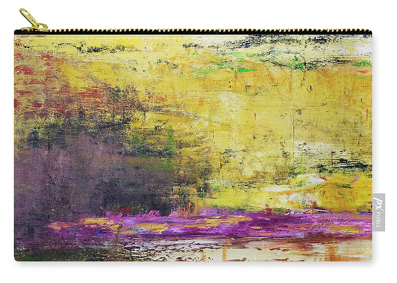Oil Painting Carry-all Pouch featuring the photograph Abstract Painted Yellow Art Backgrounds by Ekely