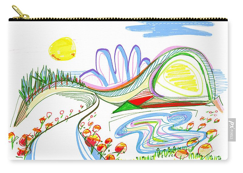 Abstract Carry-all Pouch featuring the drawing Abstract Pen Drawing Forty-four by Lynne Taetzsch