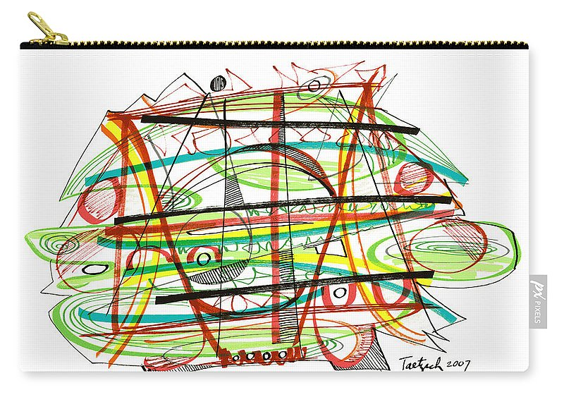 Abstract Carry-all Pouch featuring the drawing Abstract Pen Drawing Forty-seven by Lynne Taetzsch
