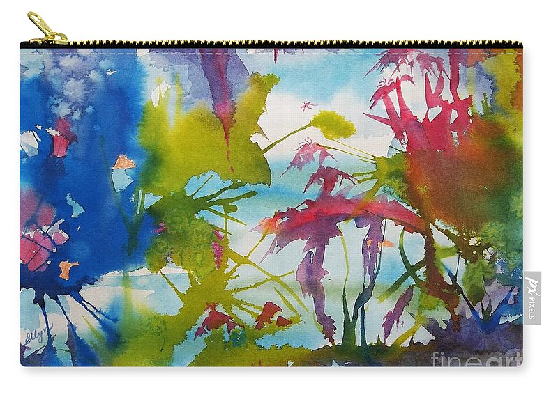 Primordial Carry-all Pouch featuring the painting Abstract - Primordial Life by Ellen Levinson