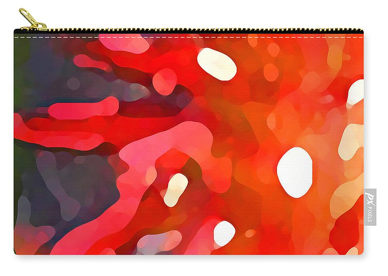 Bold Carry-all Pouch featuring the painting Abstract Red Sun by Amy Vangsgard
