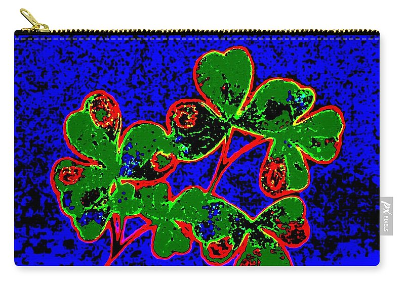 Abstract Shamrocks Carry-all Pouch featuring the digital art Abstract Shamrocks by Will Borden