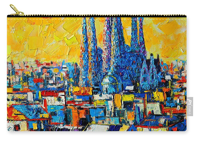 Barcelona Carry-all Pouch featuring the painting Abstract Sunset Over Sagrada Familia In Barcelona by Ana Maria Edulescu