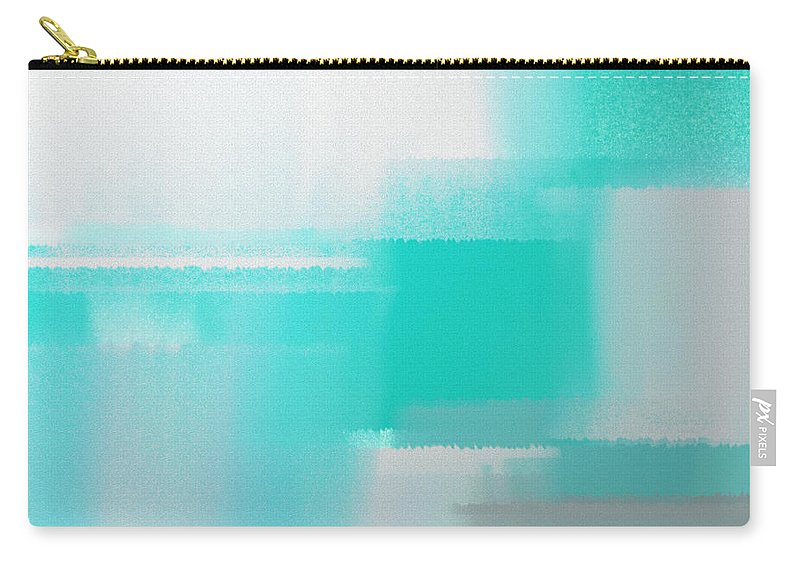 Andee Design Abstract Carry-all Pouch featuring the digital art Abstract Teal Square by Andee Design