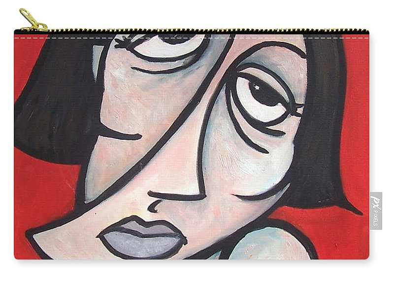 Portrait Carry-all Pouch featuring the painting Abstract by Thomas Valentine