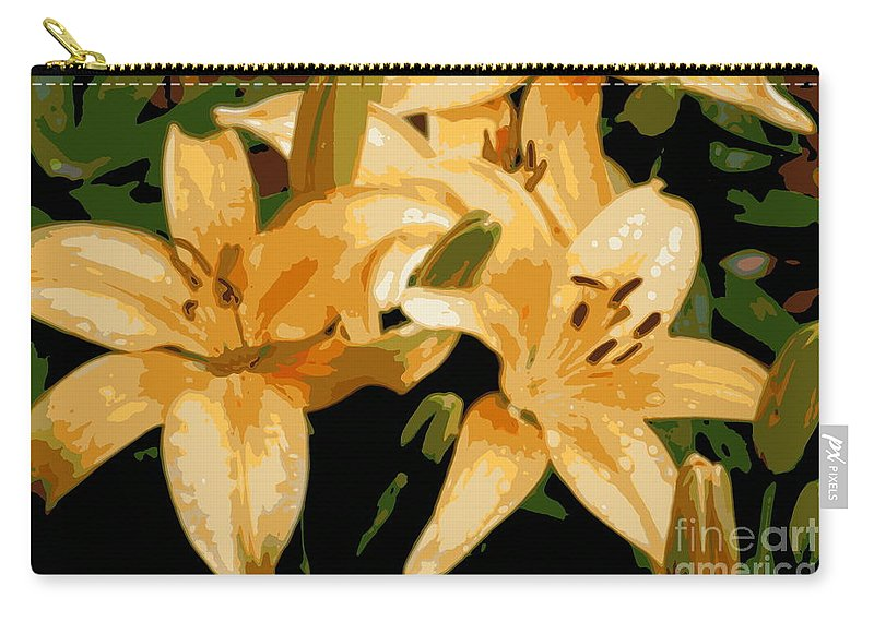 Lily Carry-all Pouch featuring the photograph Abstract Yellow Asiatic Lily - 1 by Kenny Glotfelty
