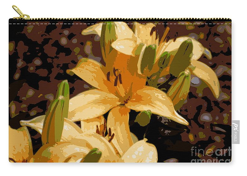 Lily Carry-all Pouch featuring the photograph Abstract Yellow Asiatic Lily - 2 by Kenny Glotfelty